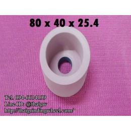 หินถ้วยทรงกระบอกสีชมพู ขนาด 80x40mm.