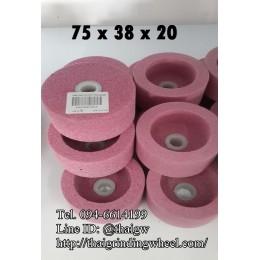 หินถ้วยทรงกระบอกสีชมพู ขนาด3นิ้ว-75x38mm.